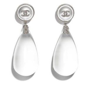 CHANEL Water Droplet Statement Earrings